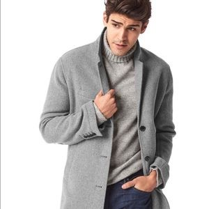 GAP Men Gray Winter Wool Blend Crombie Pea Coat L